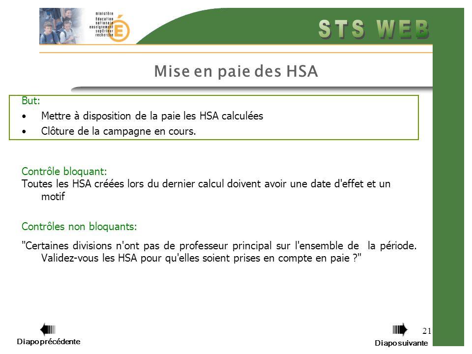 Diapo précédente Diapo suivante 21 Mise en paie des HSA But: Mettre à disposition de la paie les HSA calculées Clôture de la campagne en cours.