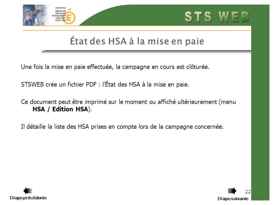 Diapo précédente Diapo suivante 22 État des HSA à la mise en paie Une fois la mise en paie effectuée, la campagne en cours est clôturée.