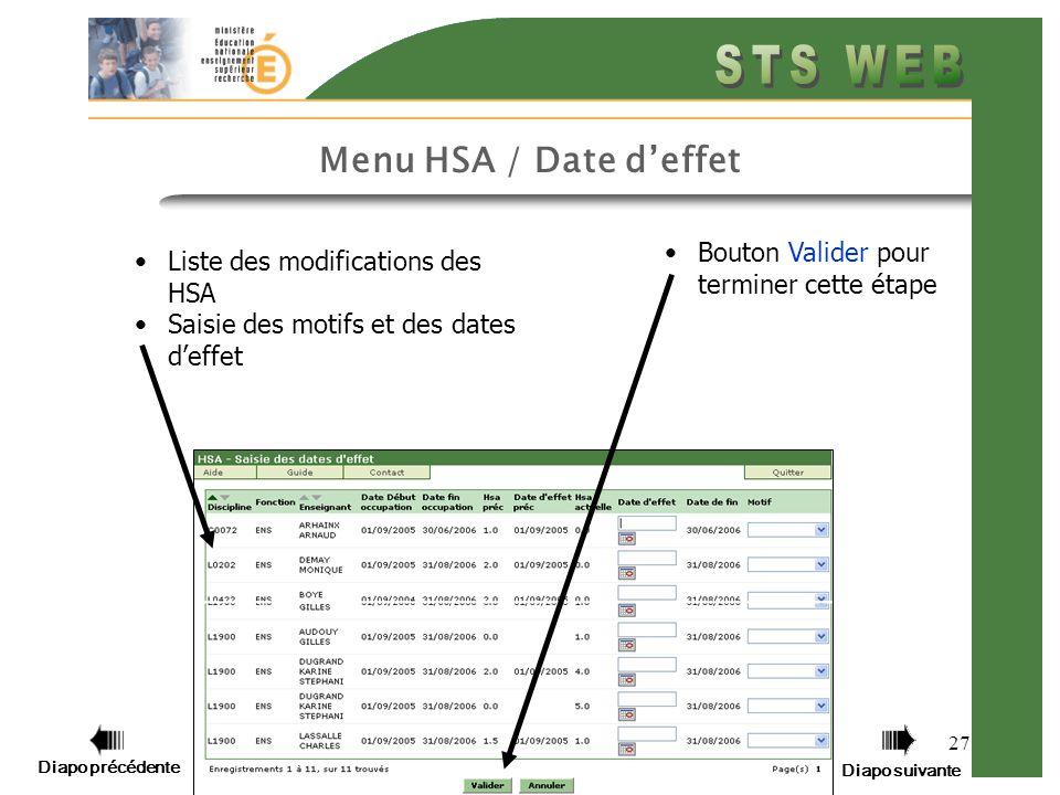 Diapo précédente Diapo suivante 27 Menu HSA / Date deffet Bouton Valider pour terminer cette étape Liste des modifications des HSA Saisie des motifs et des dates deffet
