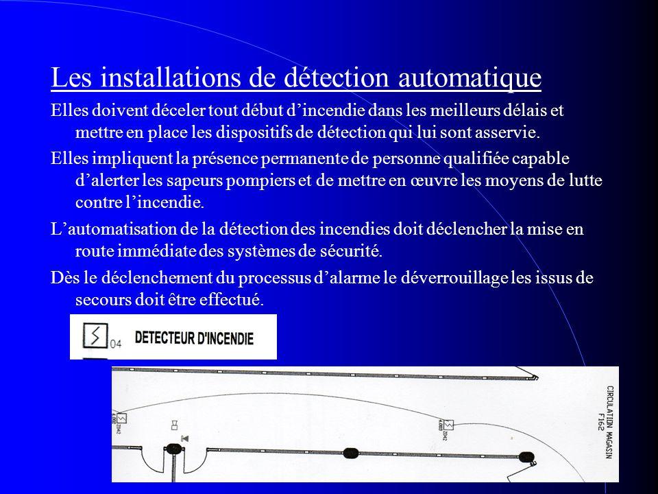 Les installations de détection automatique Elles doivent déceler tout début dincendie dans les meilleurs délais et mettre en place les dispositifs de
