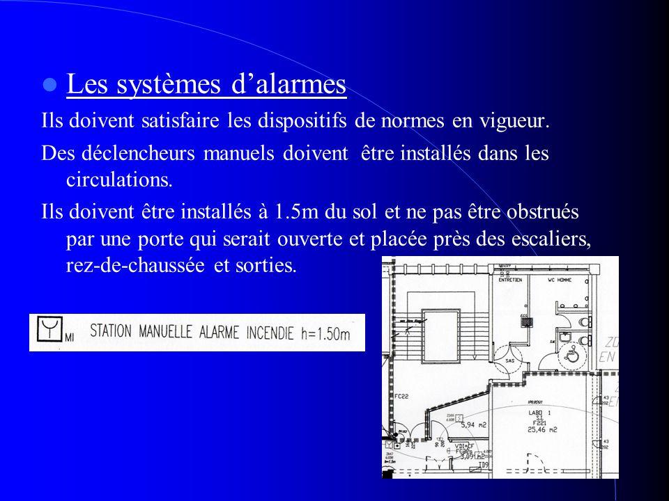 Les systèmes dalarmes Ils doivent satisfaire les dispositifs de normes en vigueur. Des déclencheurs manuels doivent être installés dans les circulatio