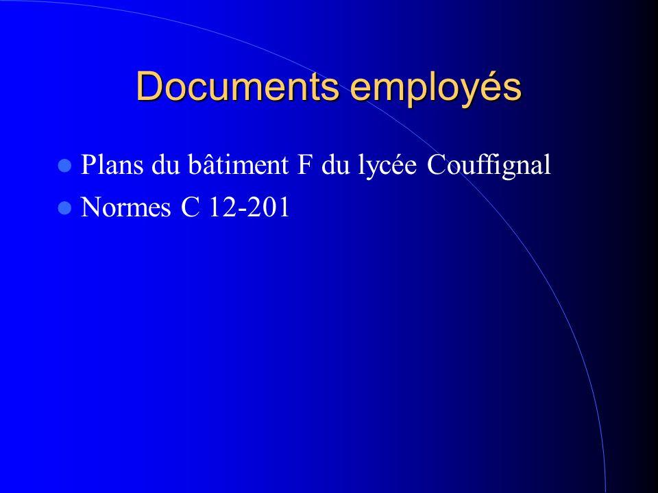 Documents employés Plans du bâtiment F du lycée Couffignal Normes C 12-201