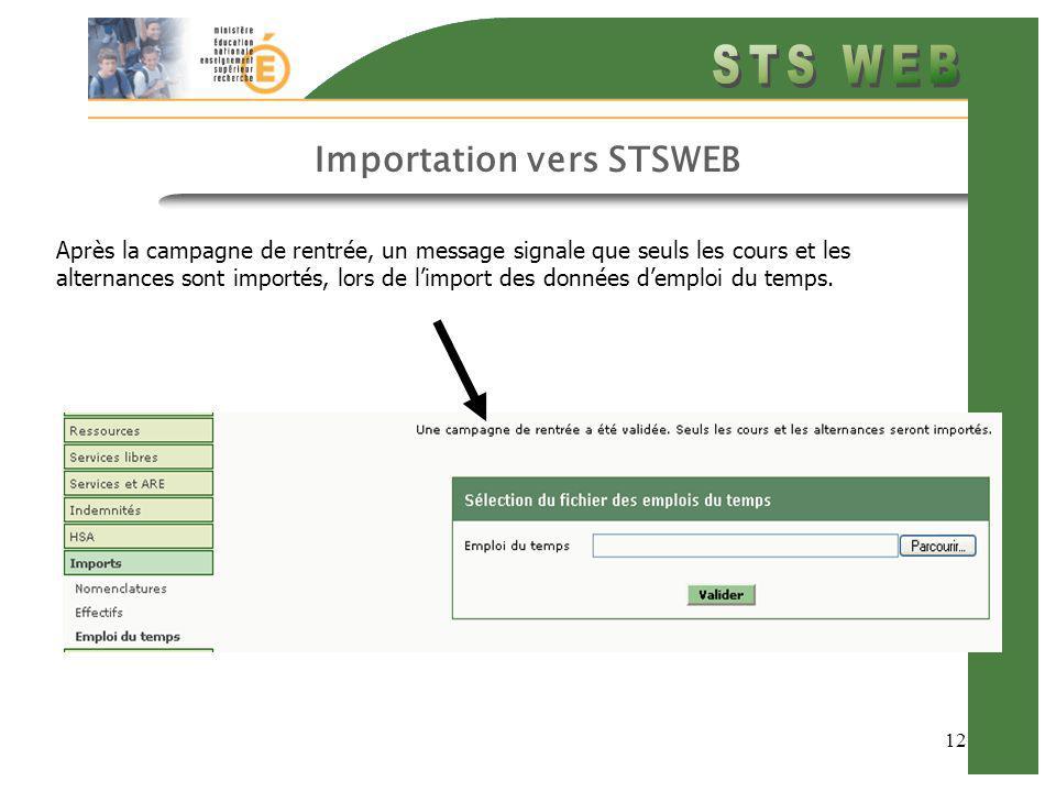 12 Importation vers STSWEB Après la campagne de rentrée, un message signale que seuls les cours et les alternances sont importés, lors de limport des
