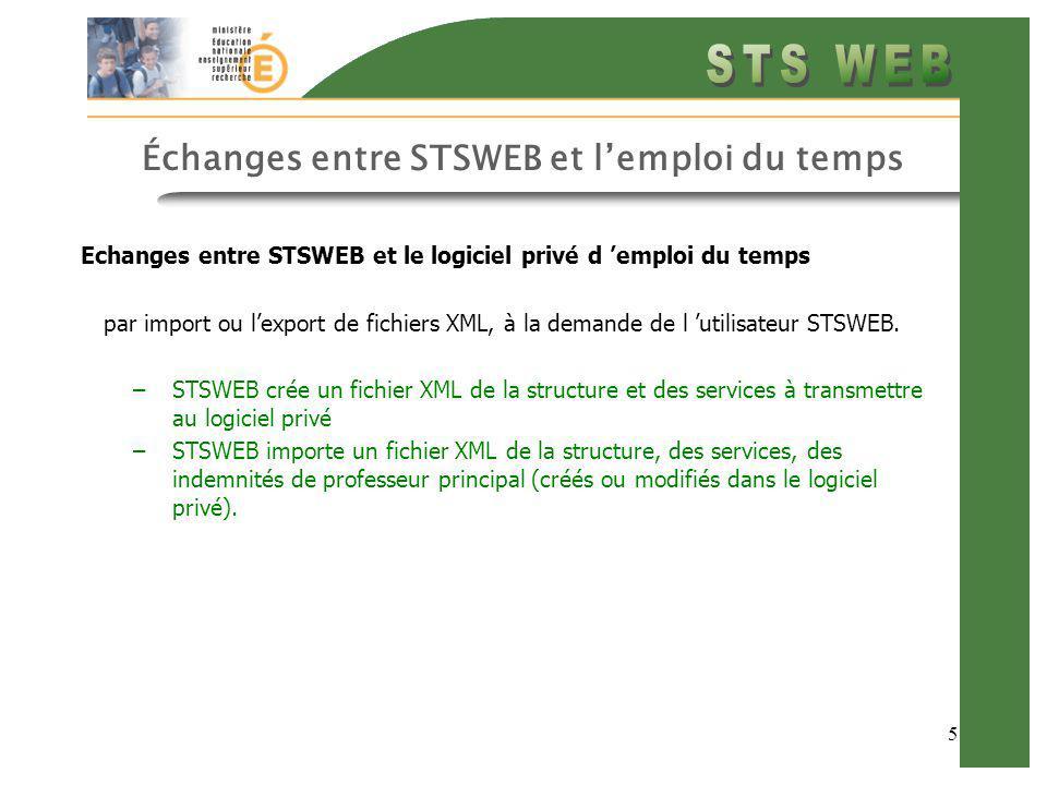 5 Échanges entre STSWEB et lemploi du temps Echanges entre STSWEB et le logiciel privé d emploi du temps par import ou lexport de fichiers XML, à la d