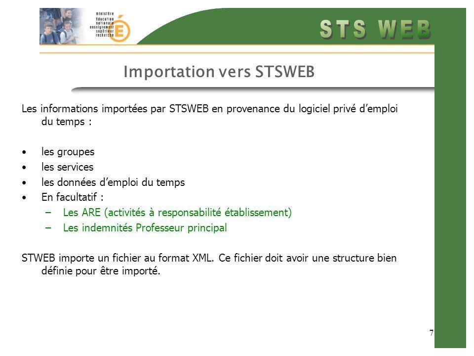 8 Importation vers STSWEB Les informations exportées vers le logiciel privé demploi du temps (suite) : Ces données dEMPLOI DU TEMPS ne sont pas consultables dans STSWEB mais stockées dans des tables de la base de données EPP.