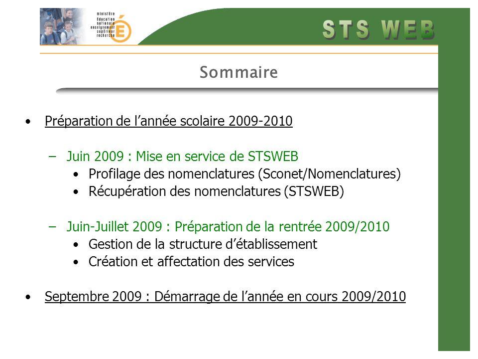 Sommaire Préparation de lannée scolaire 2009-2010 –Juin 2009 : Mise en service de STSWEB Profilage des nomenclatures (Sconet/Nomenclatures) Récupération des nomenclatures (STSWEB) –Juin-Juillet 2009 : Préparation de la rentrée 2009/2010 Gestion de la structure détablissement Création et affectation des services Septembre 2009 : Démarrage de lannée en cours 2009/2010