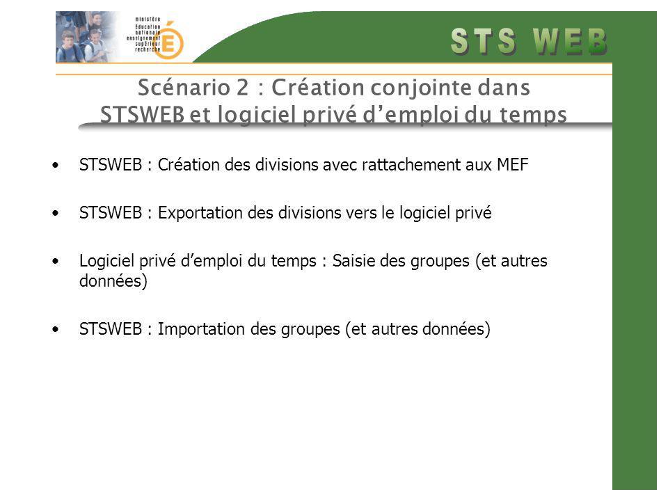 Scénario 2 : Création conjointe dans STSWEB et logiciel privé demploi du temps STSWEB : Création des divisions avec rattachement aux MEF STSWEB : Expo