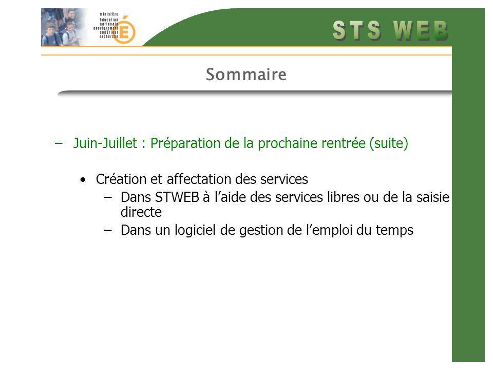 Sommaire –Juin-Juillet : Préparation de la prochaine rentrée (suite) Création et affectation des services –Dans STWEB à laide des services libres ou d