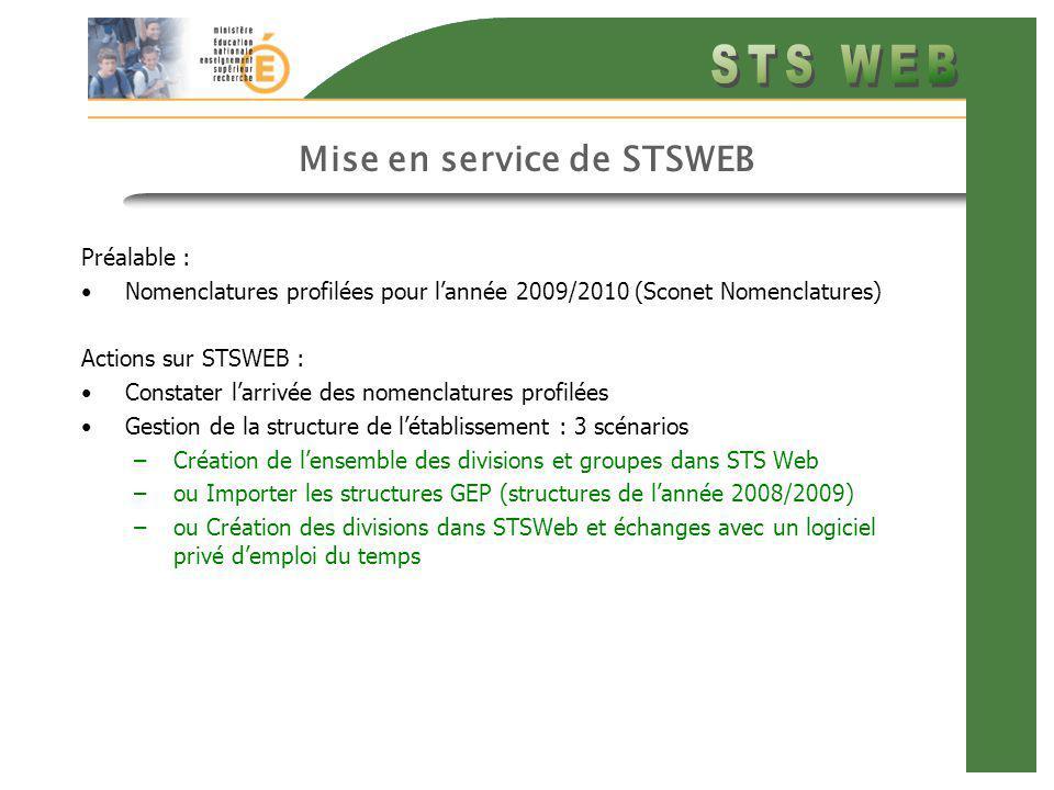 Mise en service de STSWEB Préalable : Nomenclatures profilées pour lannée 2009/2010 (Sconet Nomenclatures) Actions sur STSWEB : Constater larrivée des