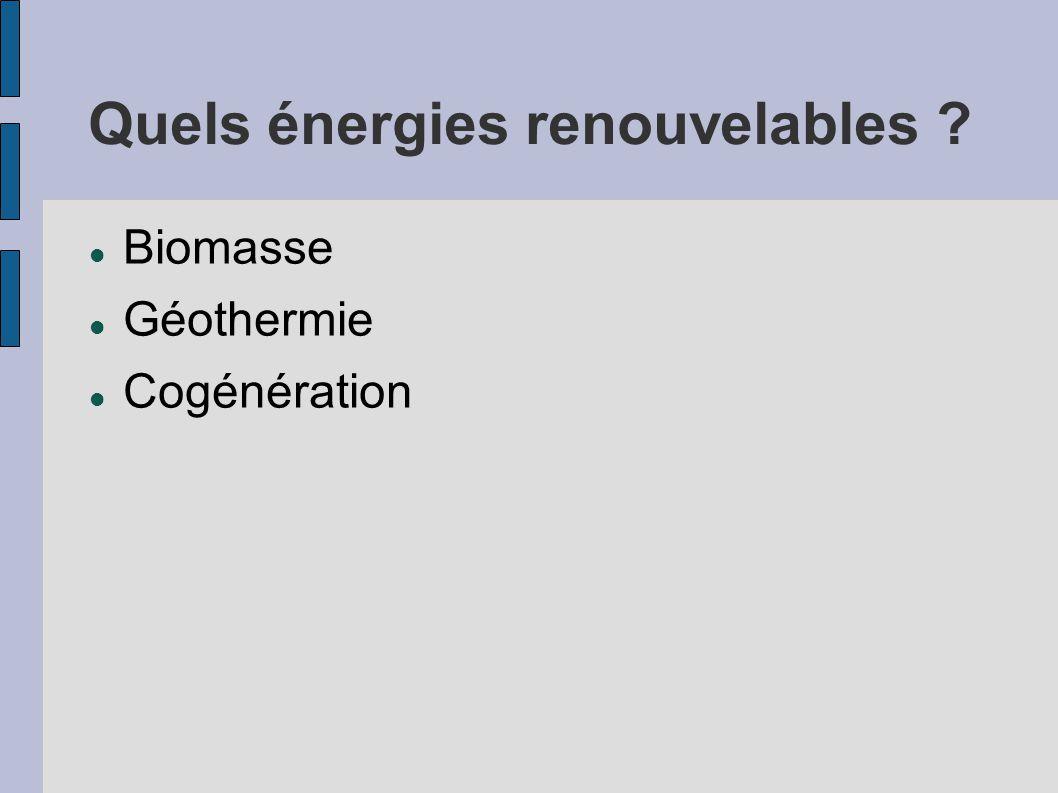 Quels énergies renouvelables ? Biomasse Géothermie Cogénération