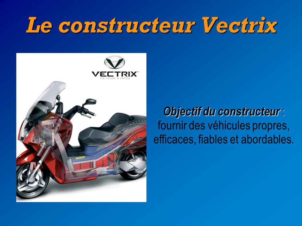 Le constructeur Vectrix Objectif du constructeur : Objectif du constructeur : fournir des véhicules propres, efficaces, fiables et abordables.