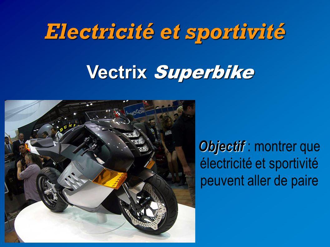 Electricité et sportivité Vectrix Superbike Objectif Objectif : montrer que électricité et sportivité peuvent aller de paire