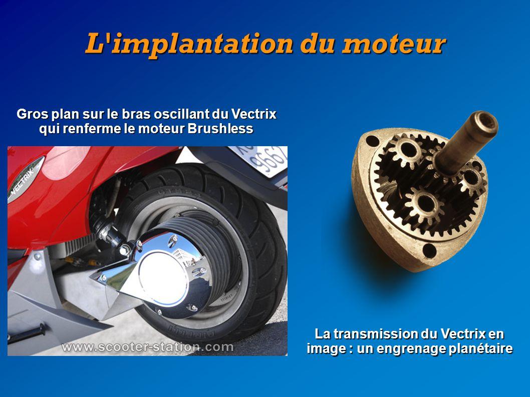 L'implantation du moteur Gros plan sur le bras oscillant du Vectrix qui renferme le moteur Brushless La transmission du Vectrix en image : un engrenag