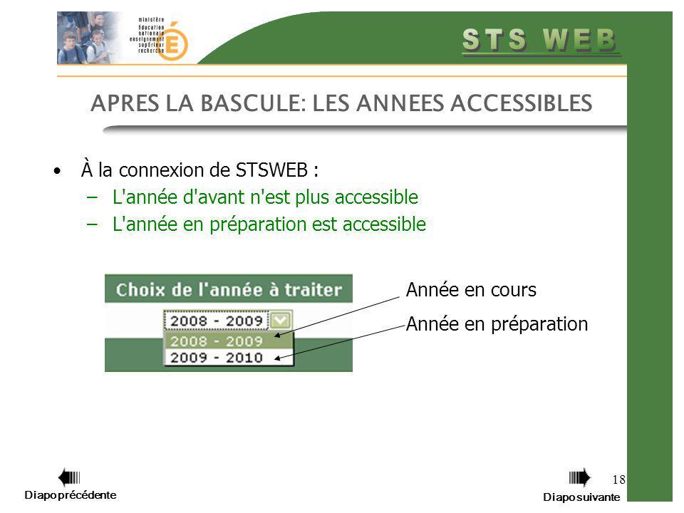 Diapo précédente Diapo suivante 18 APRES LA BASCULE: LES ANNEES ACCESSIBLES À la connexion de STSWEB : –L'année d'avant n'est plus accessible –L'année