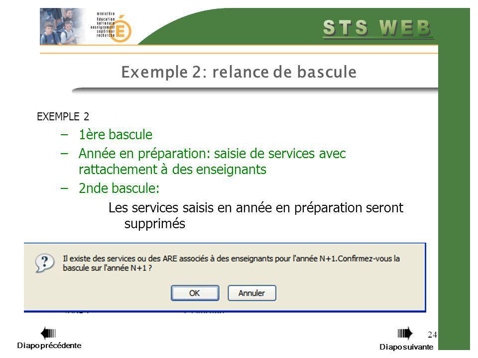 Diapo précédente Diapo suivante 24 Exemple 2: relance de bascule EXEMPLE 2 –1ère bascule –Année en préparation: saisie de services avec rattachement à