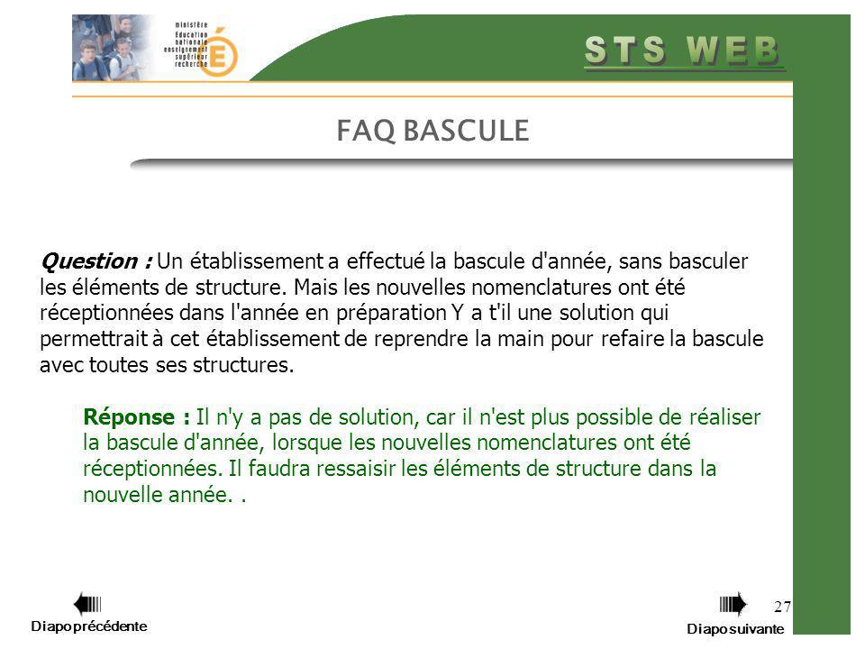 Diapo précédente Diapo suivante 27 FAQ BASCULE Question : Un établissement a effectué la bascule d'année, sans basculer les éléments de structure. Mai
