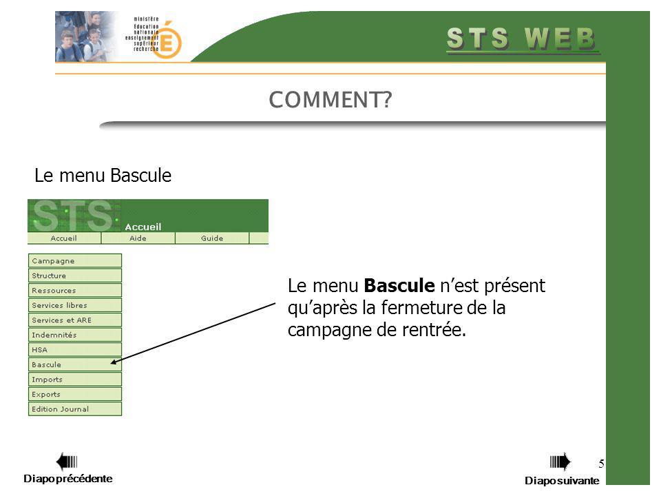 Diapo précédente Diapo suivante 26 FAQ BASCULE Question : Les établissements qui n ont pas basculé, peuvent-ils importer les nouvelles nomenclatures .