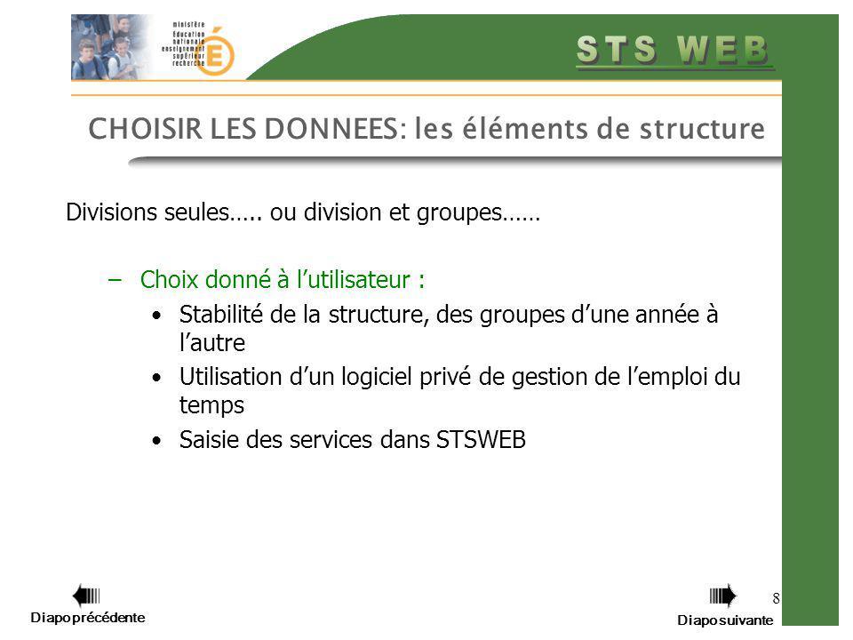 Diapo précédente Diapo suivante 8 CHOISIR LES DONNEES: les éléments de structure Divisions seules….. ou division et groupes…… –Choix donné à lutilisat
