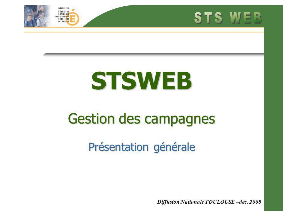Diffusion Nationale TOULOUSE –déc. 2008 STSWEB Gestion des campagnes Présentation générale