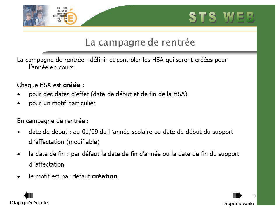Diapo précédente Diapo suivante 8 Une campagne de mise à jour La campagne de mise à jour permet de prendre en compte les modifications des HSA en cours dannée.