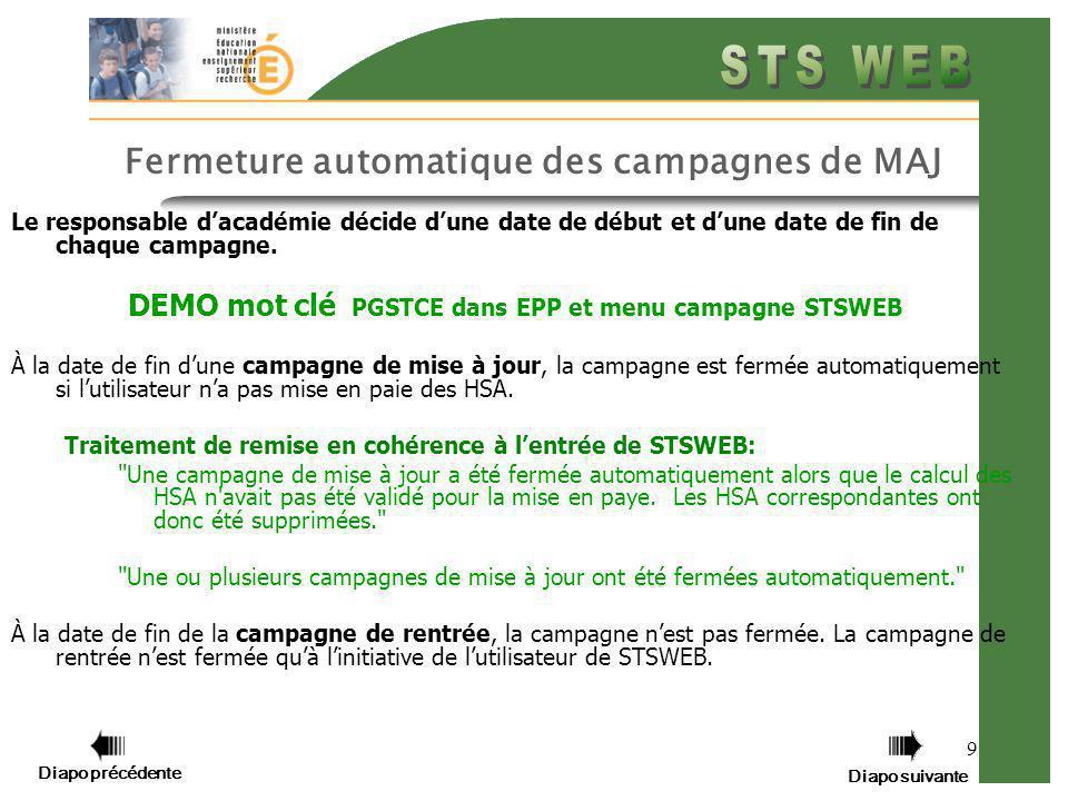 Diapo précédente Diapo suivante 10 Le menu Campagne Le menu Campagne affiche la liste des campagnes passées et à venir (planifiées par le responsable dacadémie).