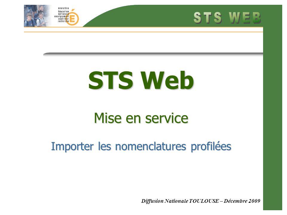 Diffusion Nationale TOULOUSE – Décembre 2009 STS Web Mise en service Importer les nomenclatures profilées