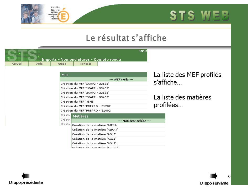9 Le résultat saffiche La liste des MEF profilés saffiche… La liste des matières profilées… Diapo précédente Diapo suivante