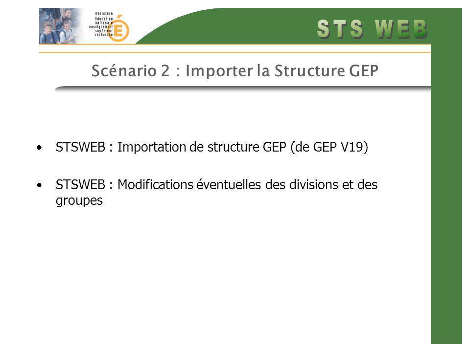 Scénario 2 : Importer la Structure GEP STSWEB : Importation de structure GEP (de GEP V19) STSWEB : Modifications éventuelles des divisions et des groupes