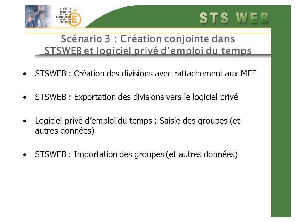 Scénario 3 : Création conjointe dans STSWEB et logiciel privé demploi du temps STSWEB : Création des divisions avec rattachement aux MEF STSWEB : Exportation des divisions vers le logiciel privé Logiciel privé demploi du temps : Saisie des groupes (et autres données) STSWEB : Importation des groupes (et autres données)
