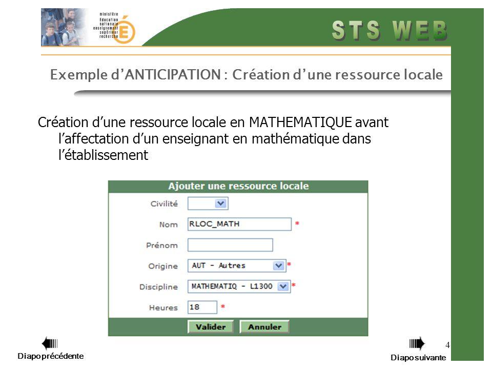 Diapo précédente Diapo suivante 4 Exemple dANTICIPATION : Création dune ressource locale Création dune ressource locale en MATHEMATIQUE avant laffectation dun enseignant en mathématique dans létablissement