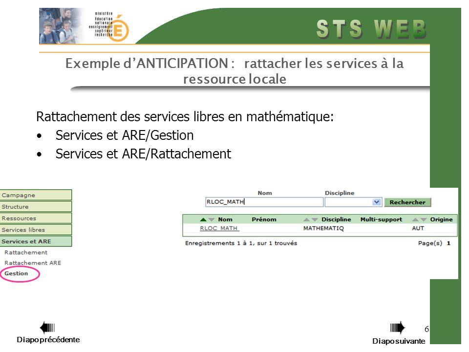 Diapo précédente Diapo suivante 7 Exemple dANTICIPATION : rattacher les services à la ressource locale Rattachement des services libres en mathématique par Services et ARE/Gestion