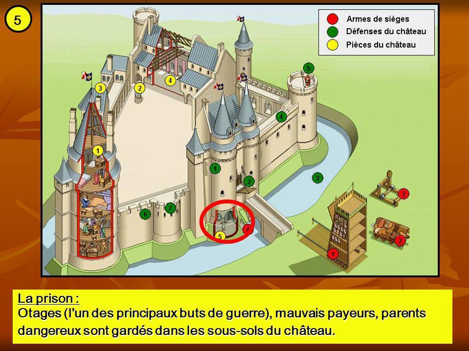 La prison : Otages (l'un des principaux buts de guerre), mauvais payeurs, parents dangereux sont gardés dans les sous-sols du château. 5