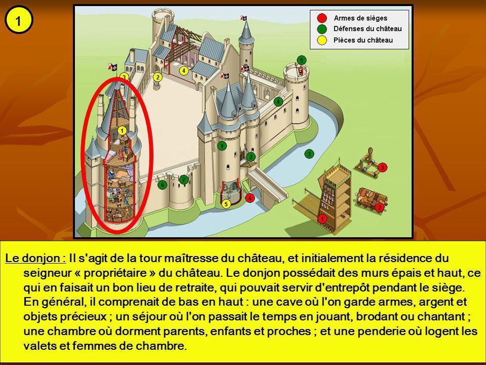 Le donjon : Il s'agit de la tour maîtresse du château, et initialement la résidence du seigneur « propriétaire » du château. Le donjon possédait des m