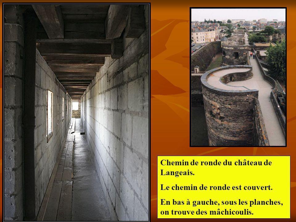 Chemin de ronde du château de Langeais. Le chemin de ronde est couvert. En bas à gauche, sous les planches, on trouve des mâchicoulis.