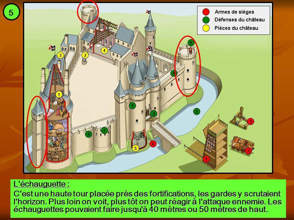 L'échauguette : C'est une haute tour placée près des fortifications, les gardes y scrutaient l'horizon. Plus loin on voit, plus tôt on peut réagir à l