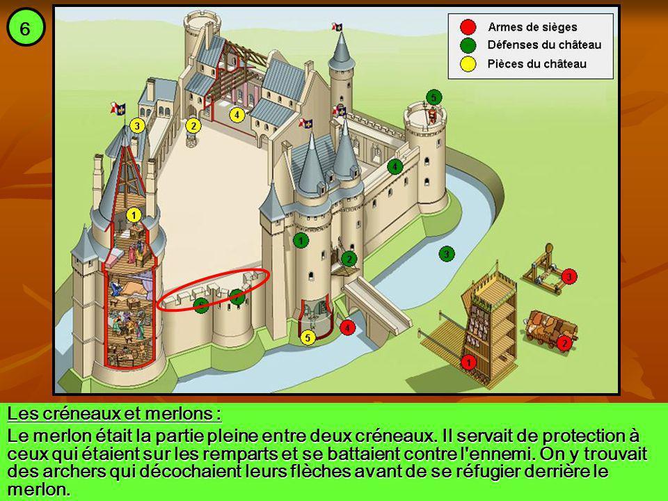 Les créneaux et merlons : Le merlon était la partie pleine entre deux créneaux. Il servait de protection à ceux qui étaient sur les remparts et se bat
