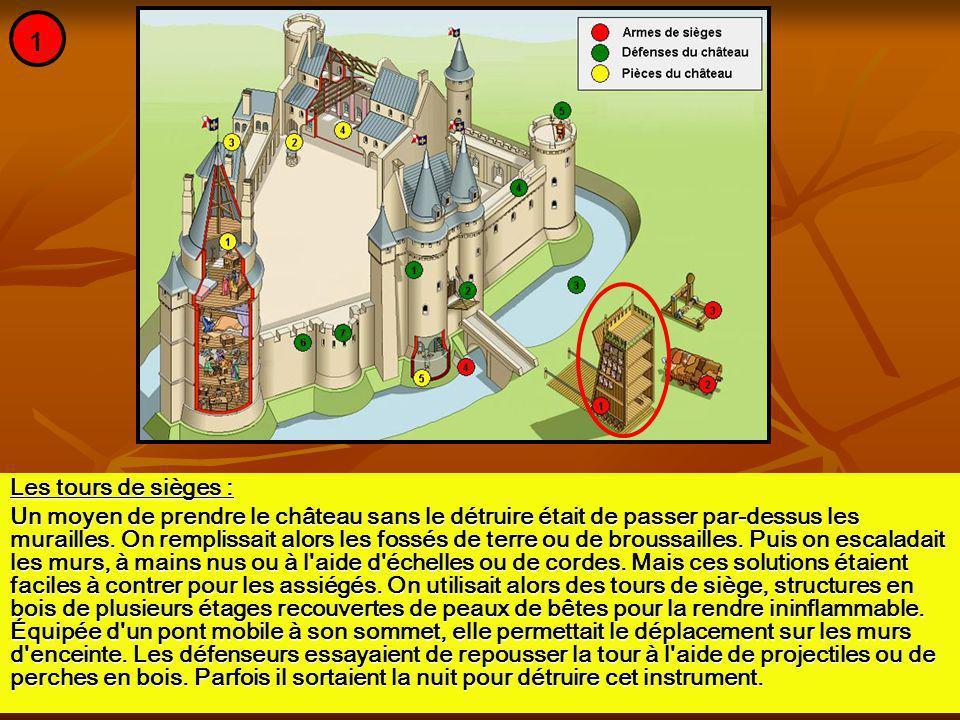 Les tours de sièges : Un moyen de prendre le château sans le détruire était de passer par-dessus les murailles. On remplissait alors les fossés de ter