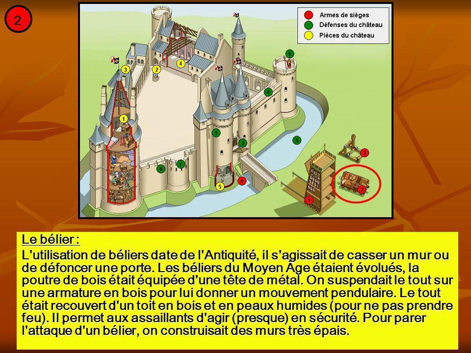 Le bélier : L'utilisation de béliers date de l'Antiquité, il s'agissait de casser un mur ou de défoncer une porte. Les béliers du Moyen Âge étaient év