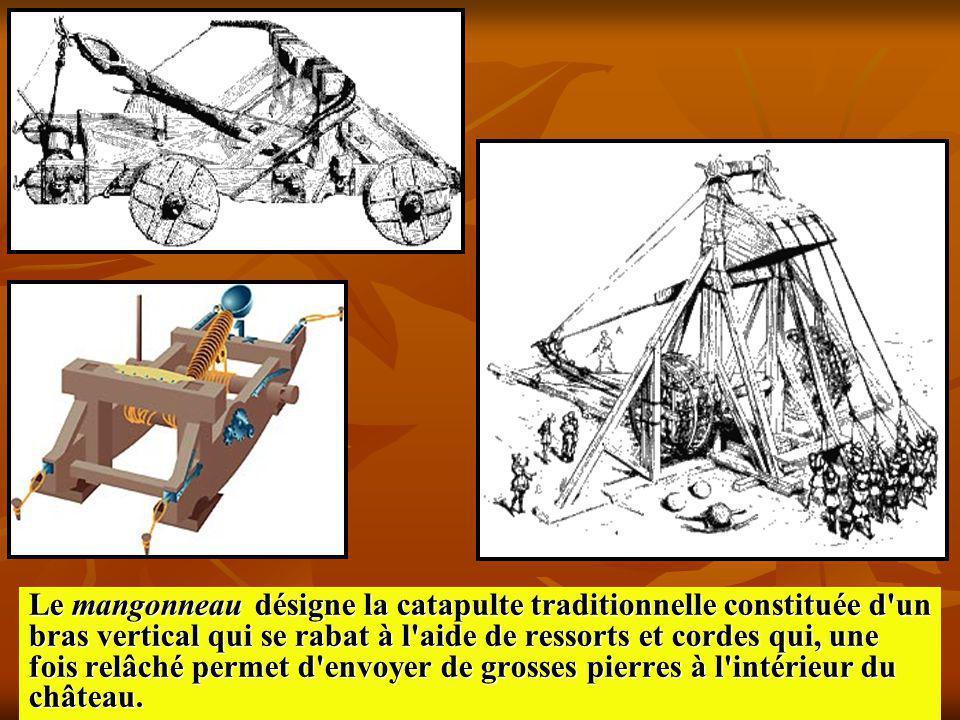 Le mangonneau désigne la catapulte traditionnelle constituée d'un bras vertical qui se rabat à l'aide de ressorts et cordes qui, une fois relâché perm