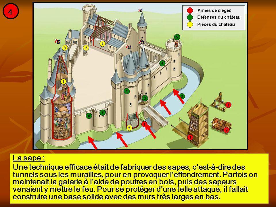 La sape : Une technique efficace était de fabriquer des sapes, c'est-à-dire des tunnels sous les murailles, pour en provoquer l'effondrement. Parfois