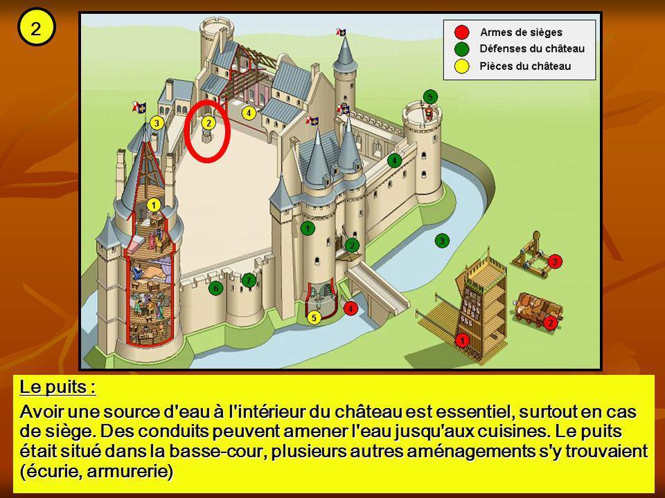 Le puits : Avoir une source d'eau à l'intérieur du château est essentiel, surtout en cas de siège. Des conduits peuvent amener l'eau jusqu'aux cuisine