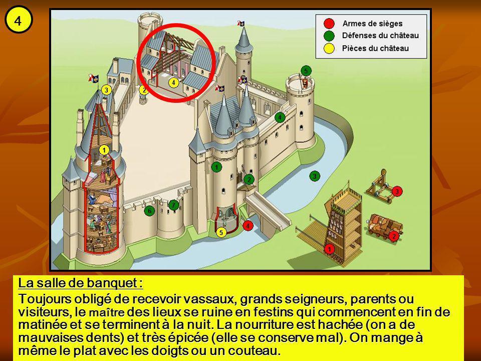 La salle de banquet : Toujours obligé de recevoir vassaux, grands seigneurs, parents ou visiteurs, le maître des lieux se ruine en festins qui commenc