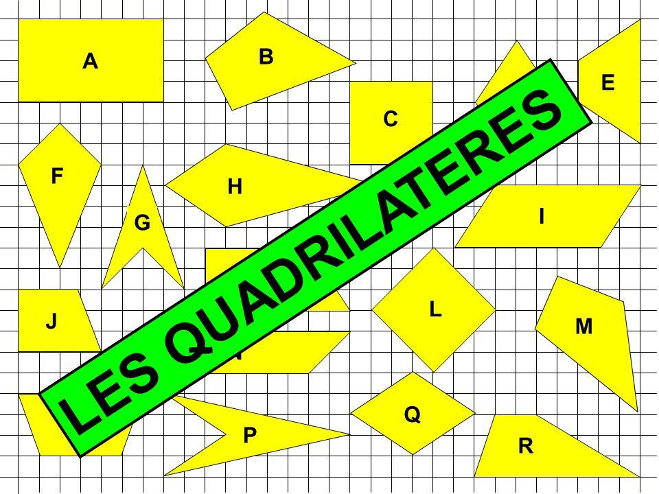 TERMINOLOGIE polygone:qui a plusieurs côtés polygone:qui a plusieurs côtés quadrilatère:qui a quatre côtés quadrilatère:qui a quatre côtés isométrique:qui a la même mesure isométrique:qui a la même mesure angle droit:qui se coupent à 90° angle droit:qui se coupent à 90° perpendiculaires: qui se coupent à angle droit perpendiculaires: qui se coupent à angle droit diagonale:ligne entre deux sommets opposés diagonale:ligne entre deux sommets opposés parallèles:qui sont toujours à la même distance parallèles:qui sont toujours à la même distance