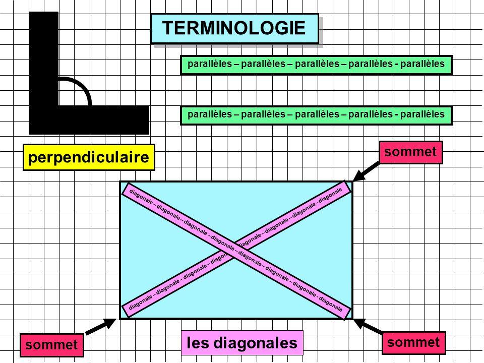 TERMINOLOGIE angle droit parallèles – parallèles – parallèles – parallèles - parallèles diagonale – diagonale – diagonale – diagonale – diagonale – diagonale – diagonale - diagonale les diagonales sommet angle droit perpendiculaire