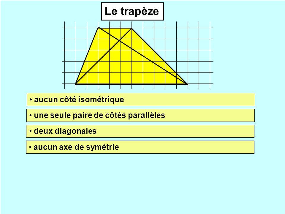 Le trapèze aucun côté isométrique une seule paire de côtés parallèles deux diagonales aucun axe de symétrie
