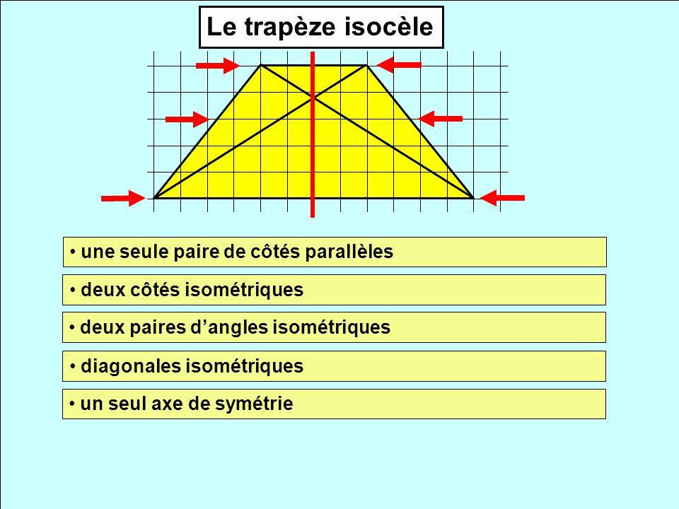 Le trapèze isocèle une seule paire de côtés parallèles deux côtés isométriques deux paires dangles isométriques diagonales isométriques un seul axe de