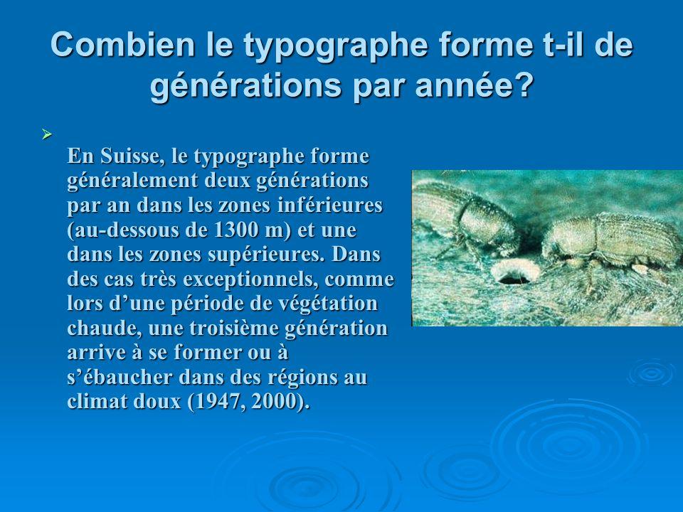 Combien le typographe forme t-il de générations par année? E n Suisse, le typographe forme généralement deux générations par an dans les zones inférie
