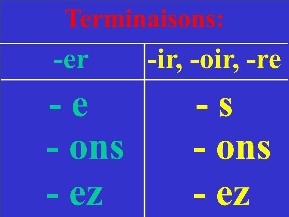Terminaisons: -er -ir, -oir, -re - e- s - ons - ez - ons - ez