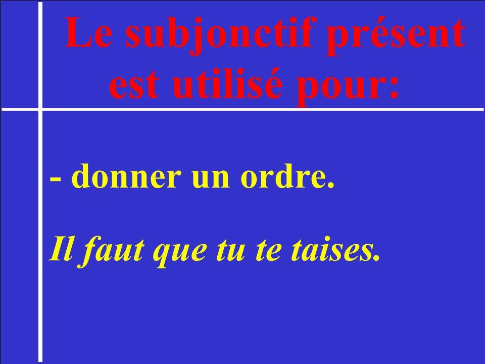 Le subjonctif présent est utilisé pour: - donner un ordre. Il faut que tu te taises.