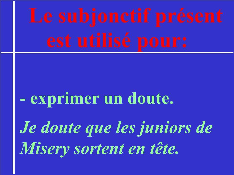 Le subjonctif présent est utilisé pour: - exprimer un souhait. J aimerais que tu écrives mieux.